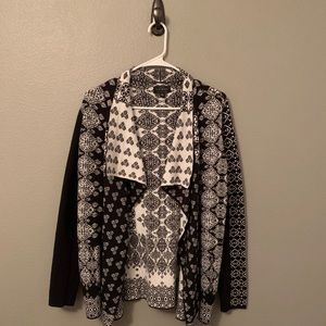 Lucky Brand Print Open Front Waterfall Cardigan